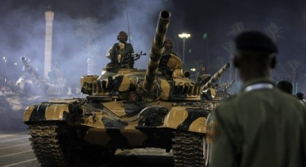Libyan tank parades during a celebration of the 40th anniversary of Libyan leader Muammar Gaddafi coming to power, in Tripoli